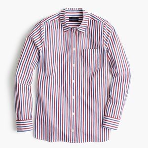 j. crew / red blue striped button down shirt top